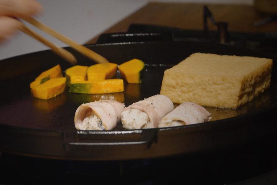 牡蠣とベーコンの鉄板焼き